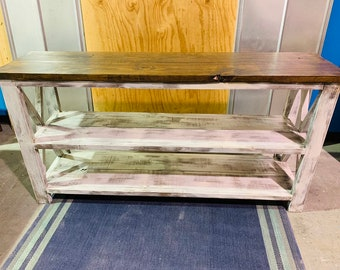 Rustic Wooden Long Buffet Table, Rustic Console Table, Farmhouse Buffet Table, White Wash with White Distressed Base and Dark Walnut Top