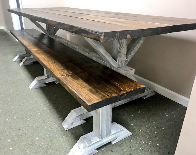 9ft Rustic Farmhouse Table with Long Bench, Banquet Table, Large Farmhouse Table with Espresso top and Distressed Antique White Base Dining