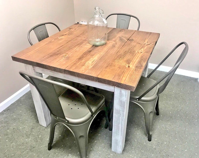 Square Farmhouse Table, Rustic Small Farmhouse Table, Dining Set with Copper Metal Chairs, Provincial Top Distressed White Base