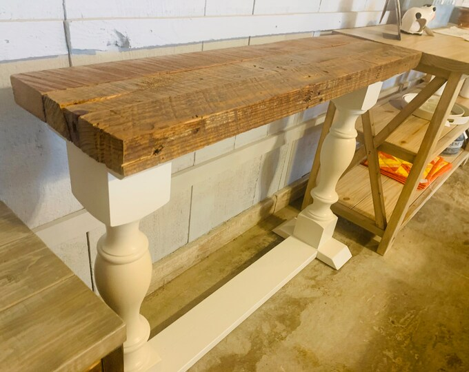 Rustic Farmhouse Entryway Table with shelve and Turned Legs, Vintage Rekindled Wood Top, and Antique White Base, Wooden Sofa Console Table