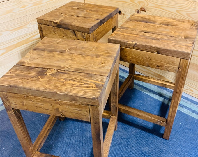 Rustic Farmhouse Counter Height Stools, Provincial Brown Stain, Wooden Bar Stool Set For Kitchen, Handmade Seating