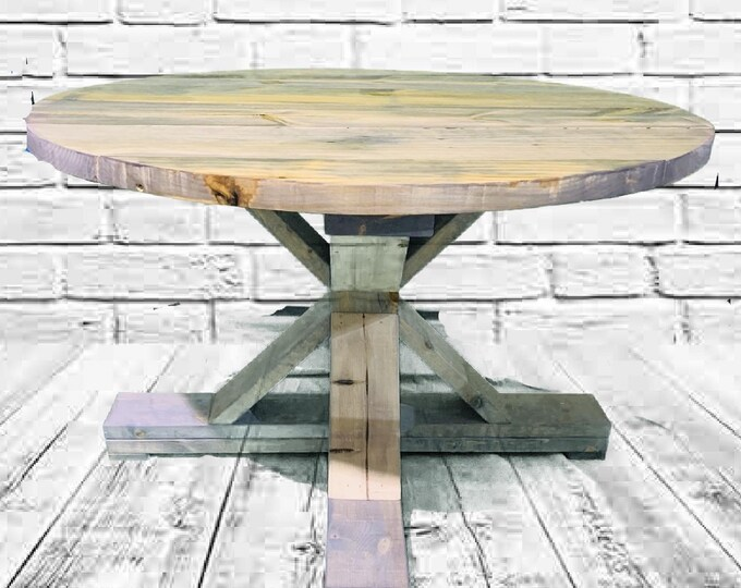 Round Rustic Farmhouse Table, Single Pedestal  Style Base, Gray Weathered Wood Look Barnwood Feel, Wooden Dining Table