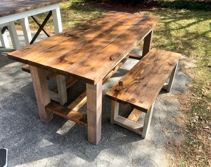Rustic Farmhouse Table, Farmhouse Table with Benches, Farmhouse Table with Bracing, Rustic Dining Set, Gray and Provincial Brown Table