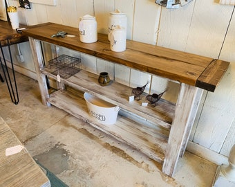 Rustic Farmhouse Narrow Bookcase, Console or Entryway Table with Early American Brown Top and Distressed White Base, Wooden Shelving Unit
