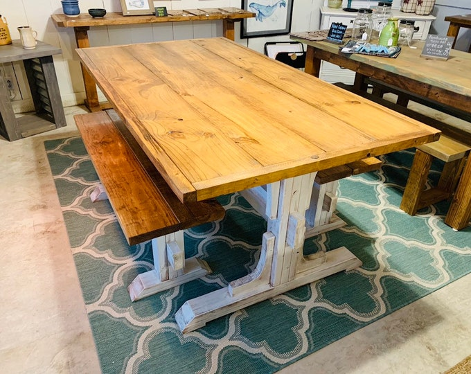 Trestle Style Rustic Farmhouse Table Set with Two Benches, Early American Top, Distressed White Base, Wooden Dining Set with Trim