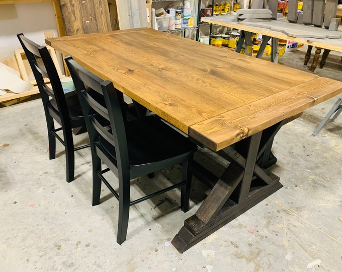 Rustic 6ft Long Pedestal Farmhouse Table Bench and Chairs Provincial with Black Base Dining Set and Kitchen Table with Breadboards