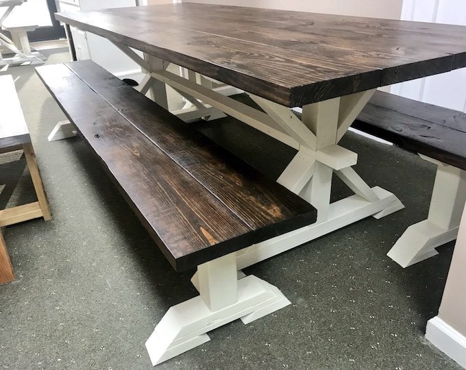 8ft Rustic Farmhouse Table with Long Benches, Banquet Table, Large Farmhouse Table with Espresso top and Antique White Base Dining
