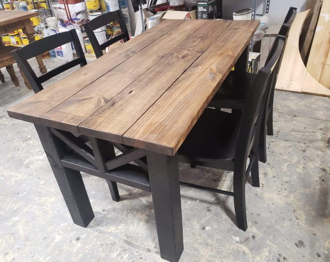 Rustic Wooden Farmhouse Table Set with Black Chairs Provincial Brown Top and True Black Base Criss Cross Style