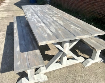 8ft Rustic Farmhouse Table with Long Benches, Banquet Table, Large Farmhouse Table with Gray White Wash top and Distressed White Base Dining