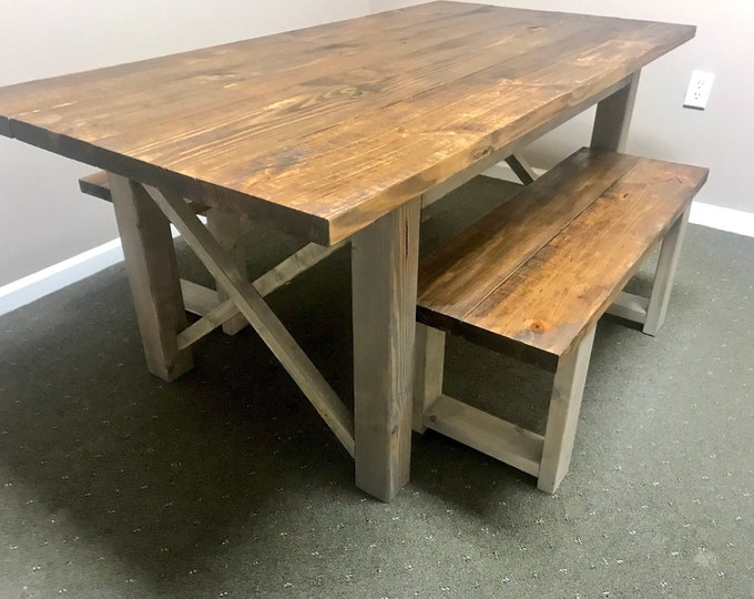 Rustic Wooden Farmhouse Table Set with Provincial Brown Top and Classic Gray Base Criss Cross Style Includes Two Benches