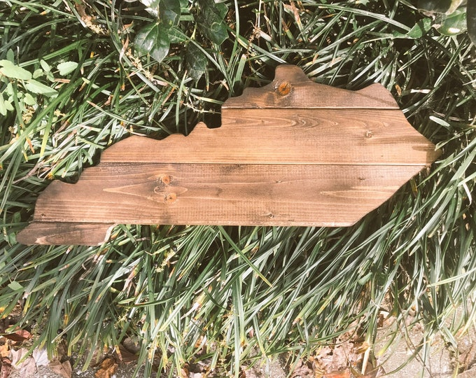 Kentucky Cutout Sign with Rustic Walnut Stain Finish Wall Art