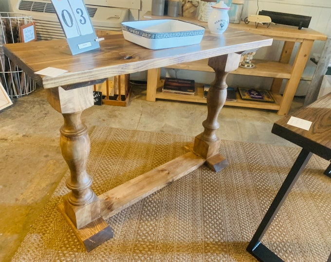 Rustic Farmhouse Entryway Table with shelve and Turned Legs, Stained a English Chestnut, Wooden Sofa Console Table