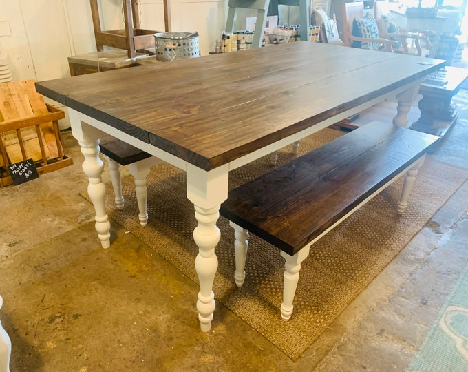 Rustic Farmhouse Table Set with Turned Legs,Two Benches, Dark Provincial Brown Top and Antique White Base Dining Set