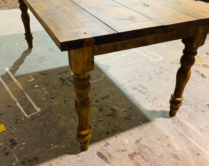 7ft Rustic Farmhouse Table with Turned Legs, Provincial Brown Top and  Base, Wooden Dining Table, Kitchen Table