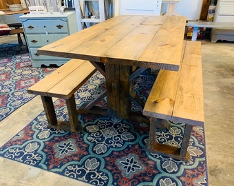 Rustic Rusty Trestle Style Farmhouse Table Set with Benches, Light Walnut Top with Industrial Look, Rusty Iron Base Wooden Dining Set