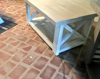 Rustic Coffee with shelf Table Criss Cross X Design, Sun Bleach Gray Top and White Distressed Base Living Room Furniture