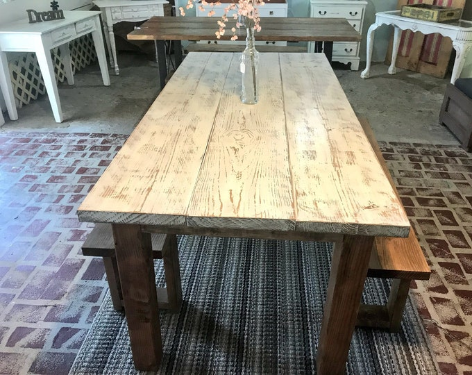 Rustic Weathered Farmhouse Table Set with Wooden Benches, Antique White Weathered Distressed Top and Walnut Sained Base, Kitchen Dining Set
