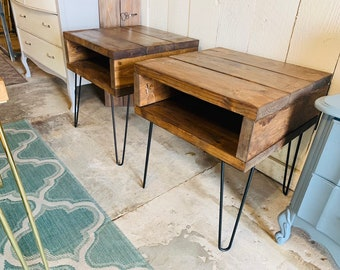 Modern Side Table with Hairpin Legs, Stained Provicial Brown, Nighstand Set or End Table Set, Industrial Side Tables