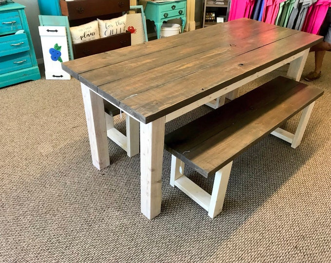 Rustic Farmhouse Table Set with Benches with Briansmoke Brown and Gray Top amd Antique White Base.  Farmhouse Dining Set.  Smokey Brown Top