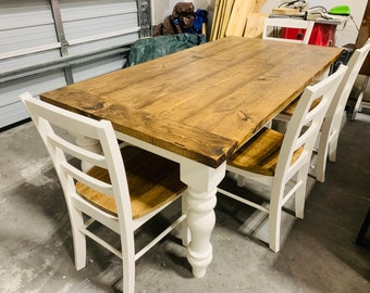 Rustic Farmhouse Table Set with Chunky Turned Legs and Breadboards , with Bench and Chairs , Provincial Brown Top Antique White Base