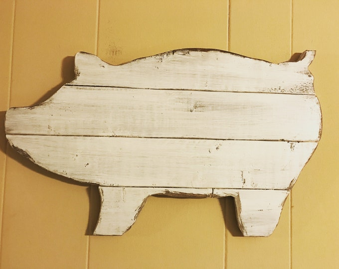 Distressed White Pig Wood Shabby Chic Wall Art and Farmhouse Wall Decor