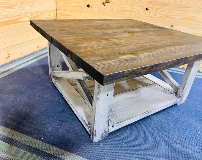 Large Farmhouse Style Coffee Table, Square Table, Espresso Brown Top, Distressed White Base, Wooden Living Room Set with X Style Criss Cross