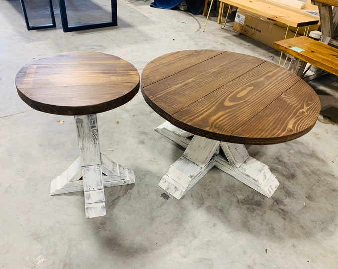 Round Farmhouse Rustic Coffee Table and End Table With Pedestal Base, Distressed White Base With Light Walnut Top Living Room Set