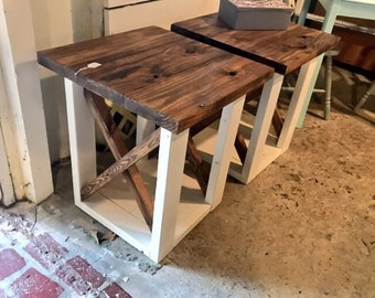Rustic Handmade End Tables Set with Shelve, White Base with Provincial Brown Top Pair of Farmhouse Side Tables, X Criss Cross Style