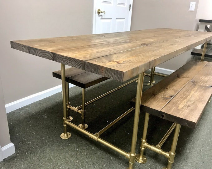 Retro Industrial Style Modern Farmhouse Table with Benches Gold Iron Pipe Base and Legs Wooden Stained Walnut Top Industrial Rustic Dining