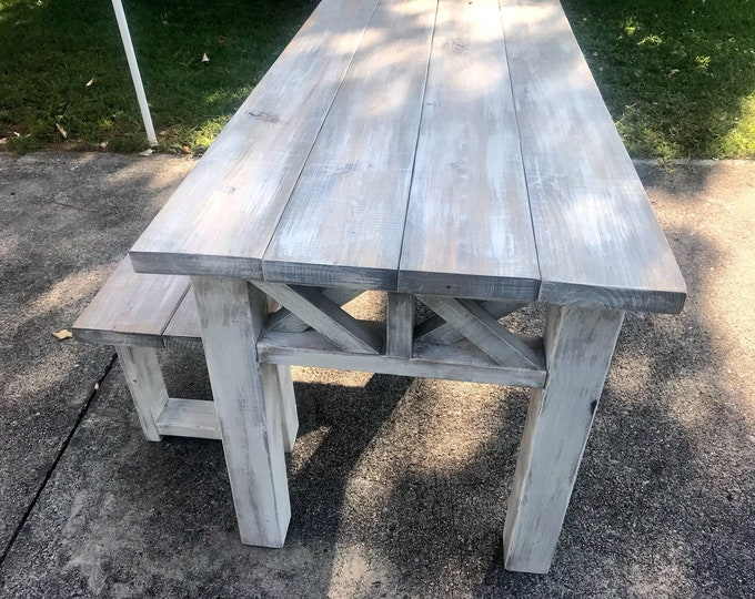 Rustic Wooden Farmhouse Table Set with Gray White Wash Top and Whiye Distressed Base Criss Cross Style Includes One Bench