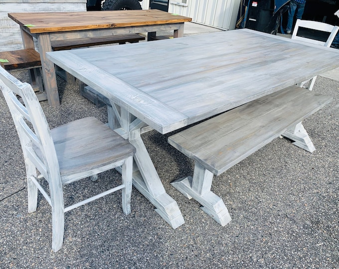 7ft Rustic Farmhouse Table Set With Benches and Chairs and Breadboards, Gray White Wash Finish and Distressed White Base Wooden Dining Set