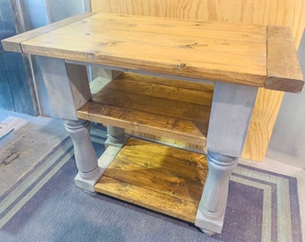 Rustic Farmhouse Island with Shelving, Provincial Stained Top and Gray Base, Wooden Island or Buffet with Breadboards and Turned Legs