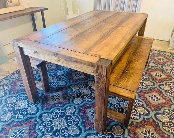 Modern Farmhouse Table Set with Benches, Provincial Brown Stain, Wooden Rustic Dining Set, Kitchen Table, Rustic Set