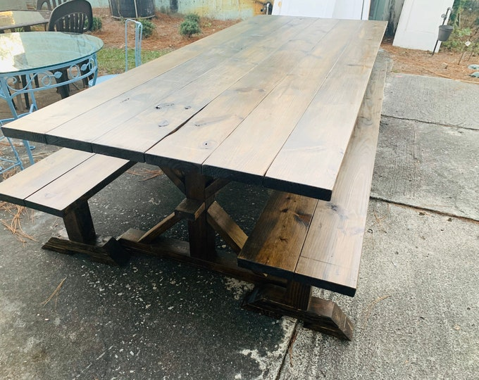 9ft Rustic Outdoor Farmhouse Table with Long Benches, Banquet Table, Large Farmhouse Table with a Dark Walnut Finish