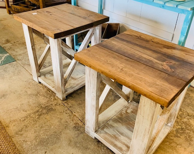 Rustic Handmade End Tables Set with Shelve, Distressed White Base with Provincial Brown Top of Farmhouse Side Tables, X Criss Cross Style
