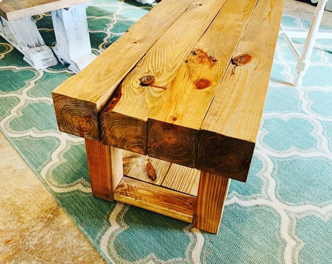 Rustic Farmhouse Chunky Coffee Table, Wooden Living Room Table, Stained an Early American Finish, 4ft Bulky Coffee Table