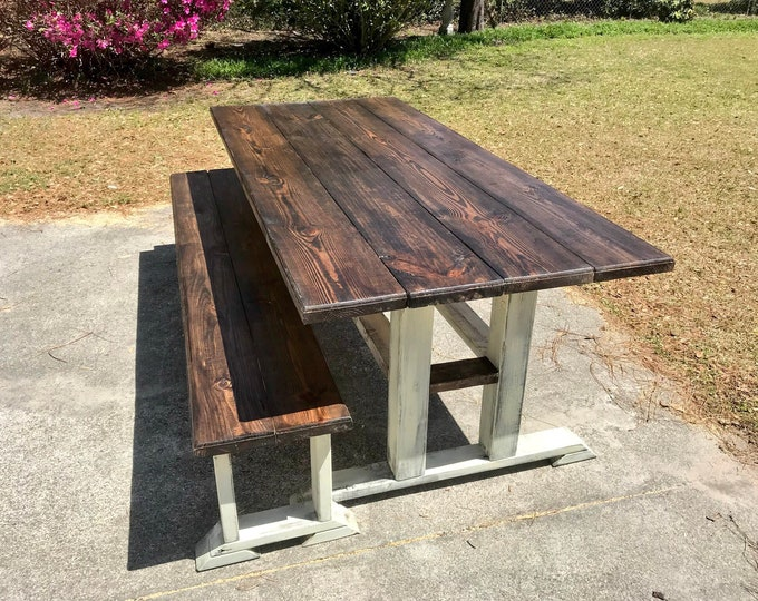 Rustic 7ft Pedestal Farmhouse Table With Long Bench Esspresso Top with Creamy White Distressed Base Dining Set Rounded Long Farmhouse Table