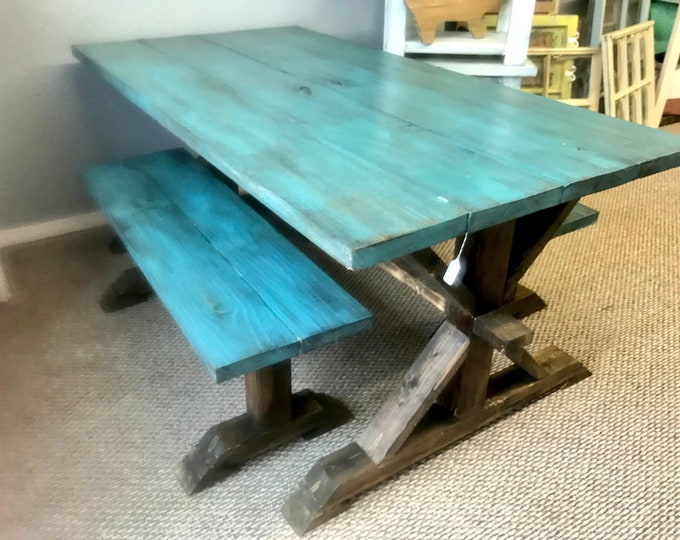 Rustic Pedestal Farmhouse Table With Benches Beatiful Teal Distressed Top With Walnut Base Dining Set Glossy Finish