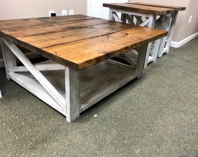 Rustic Living Room Set, Large Farmhouse Coffee Table With Set of Long End Tables, Provincial Brown Top, Creamy White Distressed