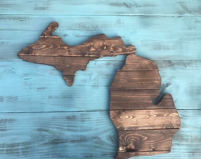Michigan Wooden Cutout Sign MI Rustic Walnut Wall Decor and Wall Art