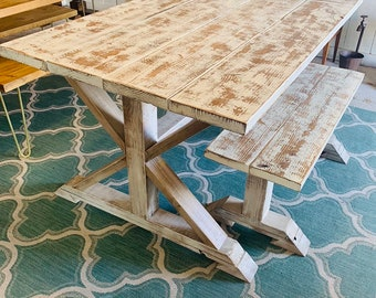 Weathered White Pedestal Farmhouse Table and Bench Distressed White Trestle Base and Weathered Top with Provincial Stain Small Table
