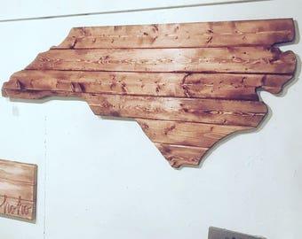 Large North Carolina Cutout Sign with Rustic Dark Walnut Look NC Wall Art and NC Wall Decor