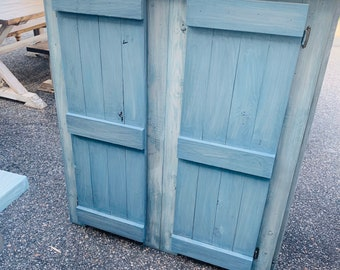 Rustic Tall Farmhouse Hutch Buffet Wood with a Aqua And Gray White Wash, Wooden Cabinet with Doors, Server, Entertainment Stand with Storage