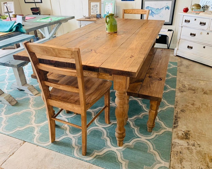 Rustic Farmhouse Table with Turned Legs, Benches and Chairs, Early American Brown Stain Finish, Dining Set with Wooden Ladder Back Chairs