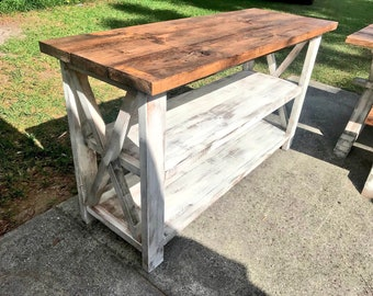 Rustic Wooden Buffet Table, Rustic Console Table, Farmhouse Buffet Table, Distressed White Base and Provincial Brown Top