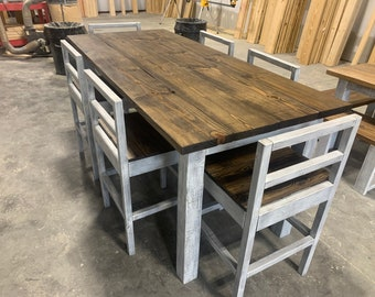 Counter Height Rustic Farmhouse Table with Stools, High Top table with Tall Chairs Dark Walnut Top and White Distressed Base, Dining Set