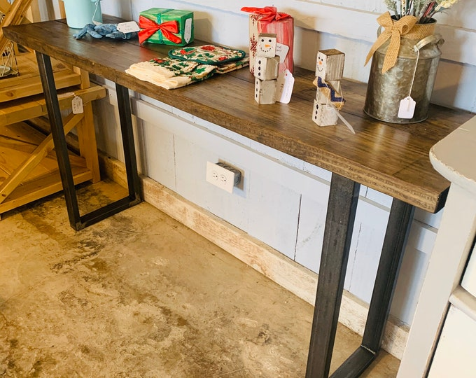 Industrial Farmhouse Entryway Table with Steel Legs and Wooden Dark Walnut Top, Modern Console Table Raw Steel Metal Legs