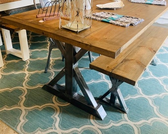 Industrial Farmhouse Table Set with Bench and Chairs,Raw Steel Pedestal Base, Weathered Brown Top With Breadboards, Dining Or Kitchen Table
