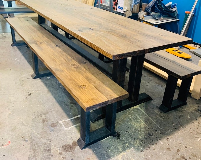 9ft Rustic Modern Large Farmhouse Table with Long Benches, Provincial brown Top, Black Distressed Base Dining Set, Banquet Table, Long Table