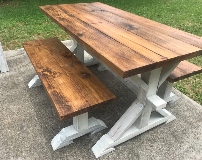 Rustic Small Pedestal Farmhouse Table With Benches Provincial Brown with White Distressed Base Narrow Dining Set